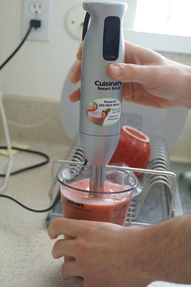 Add the fruits, mix in the yogurt drink, and blend!