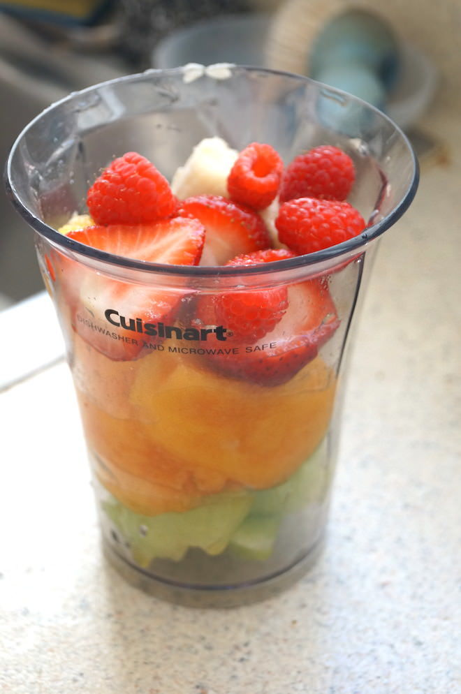 Fruits ready to be blended for the berry smoothie for the Not-So-Lazy