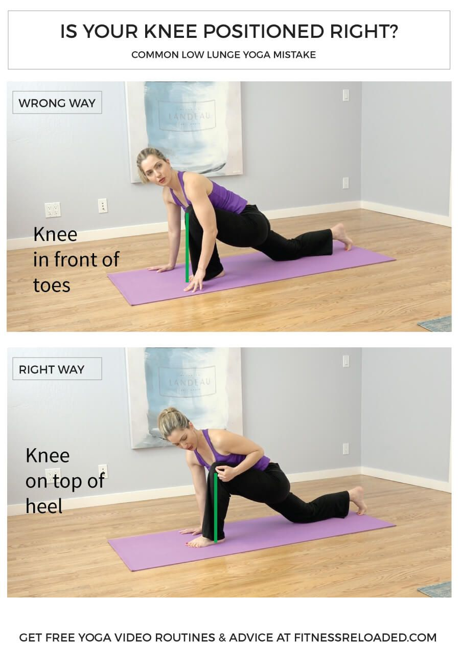 beginners yoga routine knee mistake low lunge