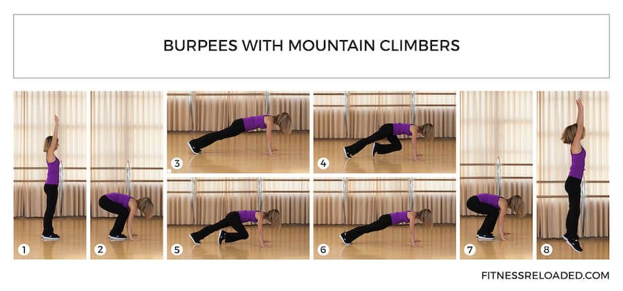 burpees with mountain climbers