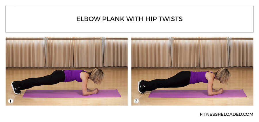 elbow plank with hip twists