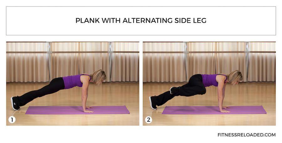 plank with alternating side leg