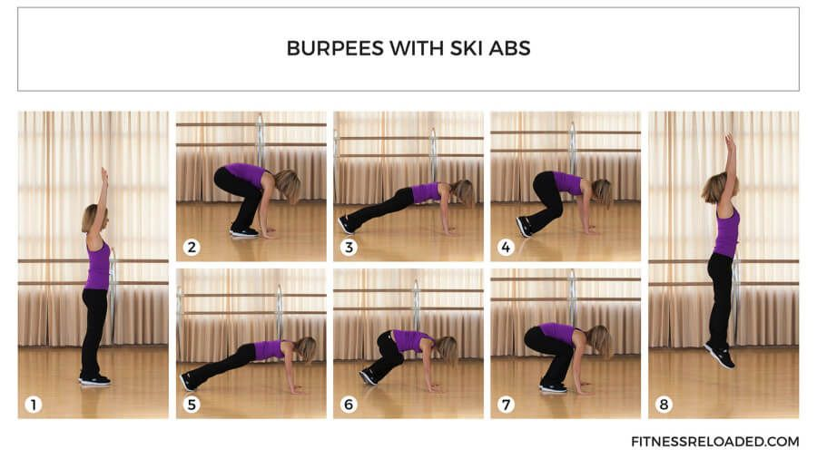 burpees exercise with ski abs