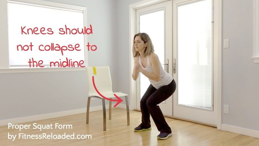 squat properly - Knees should not collapse to the midline