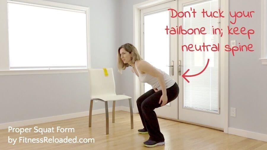 Proper squat Don't tuck your tailbone in